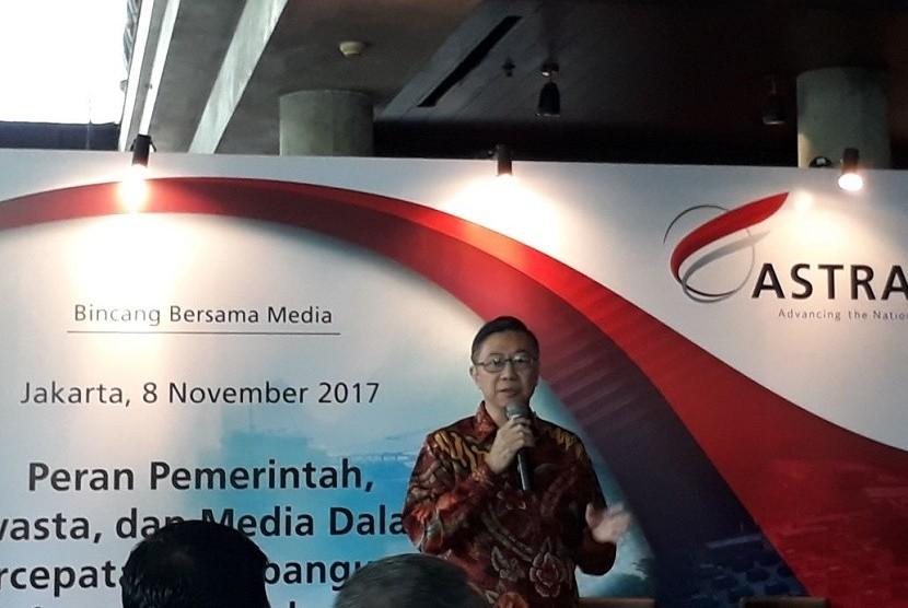 Presiden Direktur Astra Infra Irawan Santoso menjelaskan ketertarikannya untuk menjadi operator Pelabuhan Patimban, Subang Jawa Barat saat membuka acara media gathering di kawasan Kebon Sirih, Jakarta, Rabu (8/11).