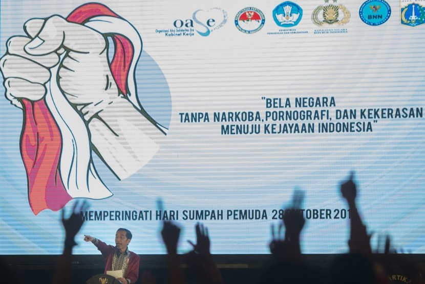 President Joko Widodo delivered a speech when campaigning on the danger of drugs, pornography and violence to Jakarta province pupils at Hall D JI-Expo, Kemayoran, Jakarta, Wednesday (October 11).