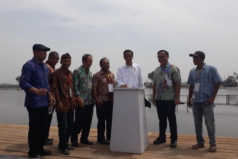 Presiden Joko Widodo mengunjungi revitalisasi tambak udang di Desa Bakti, Kecamatan Muara Gembong, Kabupaten Bekasi, Jawa Barat, Rabu (1/11).