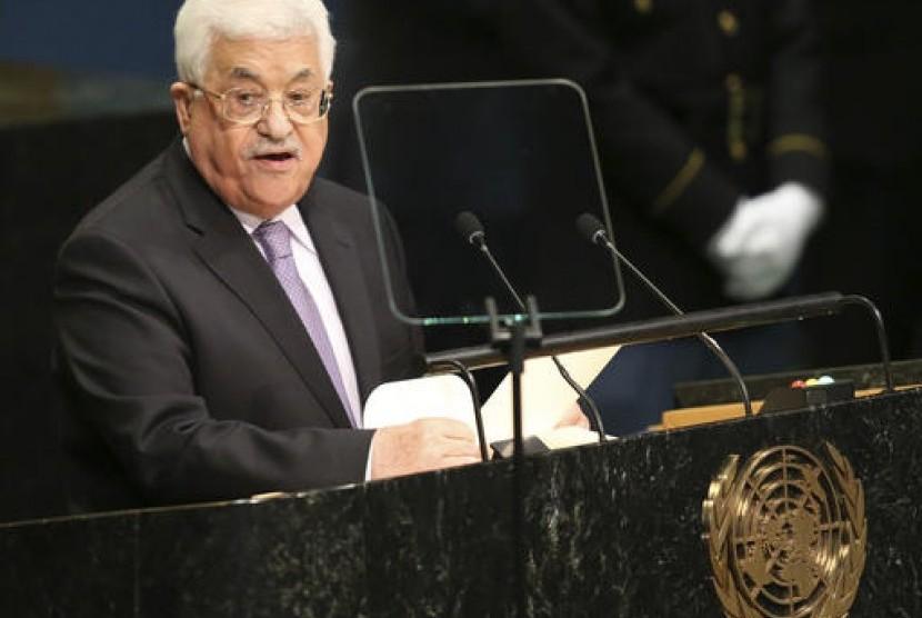 Presiden Palestina Mahmoud Abbas berbicara di Sidang Majelis Umum PBB di markas PBB.