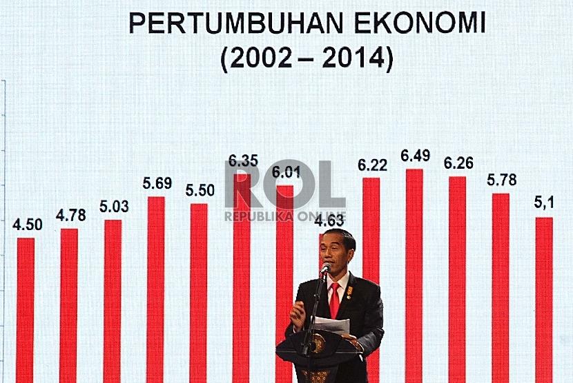 Presiden RI Joko Widodo berbicara dalam Silaturahim dengan Dunia Usaha Presiden Menjawab Tantangan Ekonomi di JCC, Jakarta, Kamis (9/7).