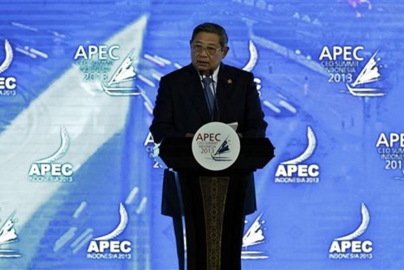 Presiden SBY saat membuka KTT APEC 2013.