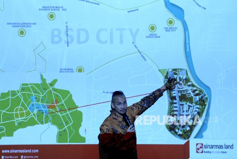 Project Leader Digital Hub BSD City Irawan Harhap memberikan paparan pada acara Rembuk Republik di Serpong, Tangerang Selatan, Banten, Kamis (30/3).