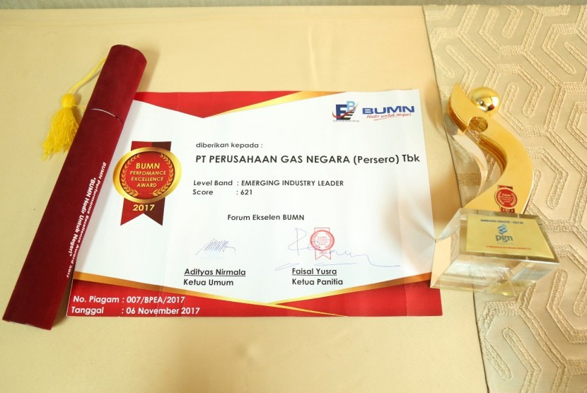 PT Perusahaan Gas Negara (Persero) Tbk (PGN) kembali menerima BUMN Performance Excellence Award 2017.