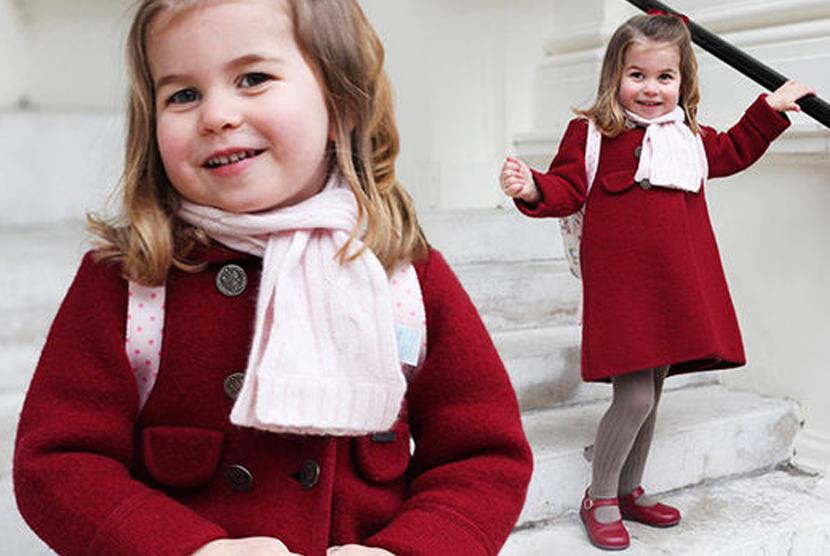 Pose Menggemaskan Putri Charlotte Ikut Nursery School