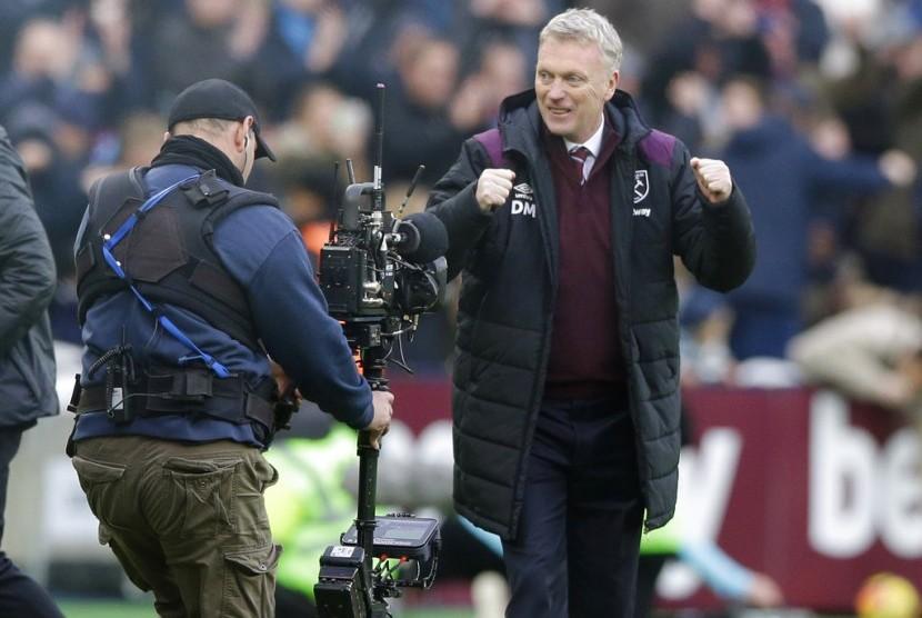Reaksi David Moyes seusai West Ham kalahkan Chelsea 1-0 pada laga Liga Primer Inggris, di Stadion London, Sabtu (9/12).