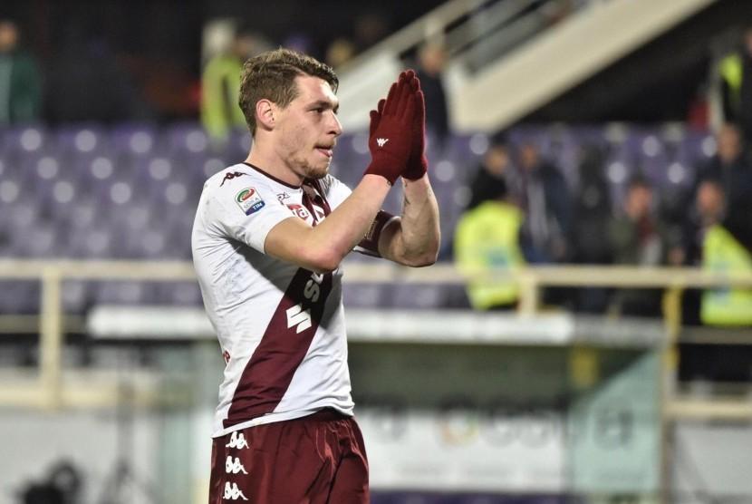 Reaksi striker Torino, Andrea Belotti pada laga Serie A lawan Fiorentina di Artemio Franchi, Selasa (28/2) dini hari WIB. Laga berakhir imbang 2-2.