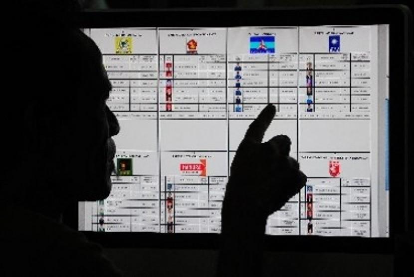 RILIS CALEG ICW: Seorang pria memperhatikan Daftar Caleg Sementara dari situs milik KPU di Jakarta, Ahad (30/6). Indonesia Corruption Watch (ICW) merilis 36 calon anggota legislatif yang diragukan komitmennya terhadap upaya pemberantasan korupsi.