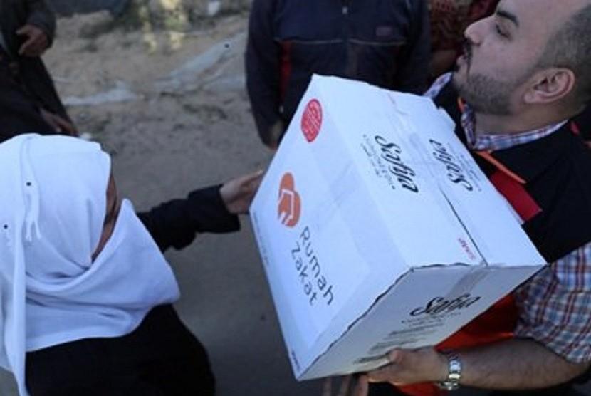 Rumah Zakat kembali mendistribusikan bantuan pangan untuk warga palestina yang tinggal di pengungsian perbatasan jalur Gaza.