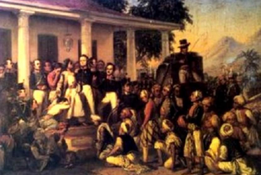 Salah satu karya paling fenomenal Raden Saleh, lukisan 'Penangkapan Pangeran Diponegoro'. Lukisan yang dibuat pada 1857 itu dihadiahi Raden Saleh kepada Raja Belanda William III.