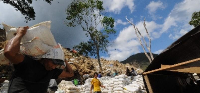 Salah satu lokasi pertambangan emas di Poboya, Palu, Sulawesi Tengah.