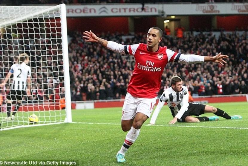 Salah satu pemain Arsenal yang akan turut diboyong ke Indonesia, Theo Walcott.