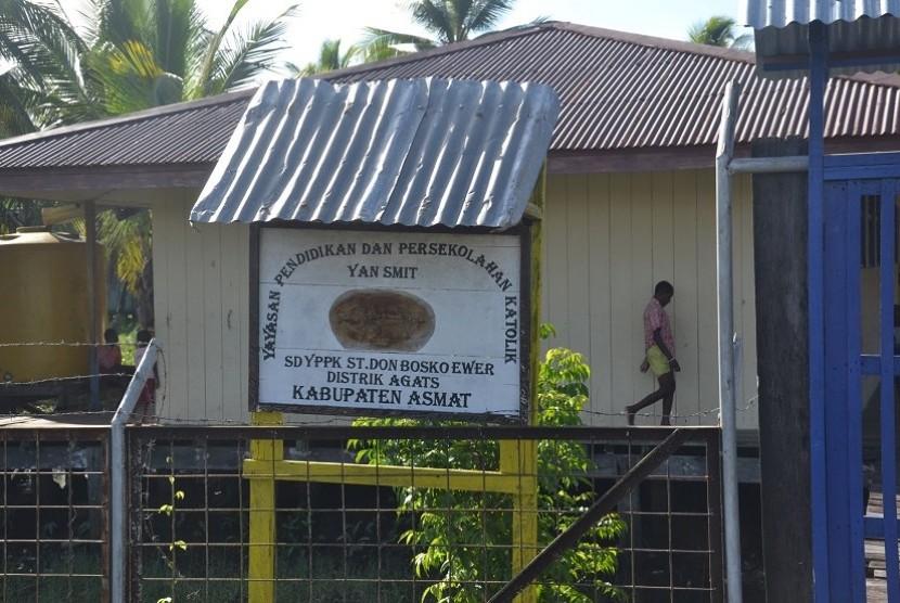 Salah satu sekolah di Kabupaten Asmat, Papua.