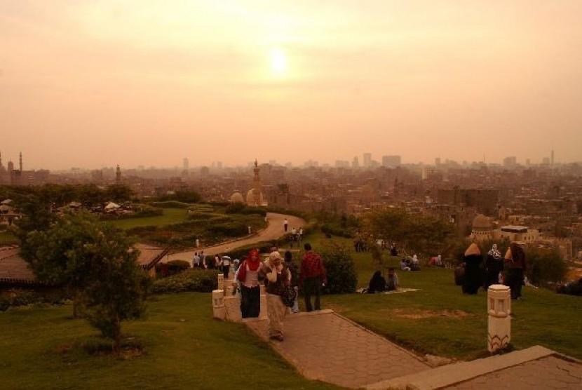 Salah satu sudut Taman al-Azhar di Kota Kairo, Mesir.