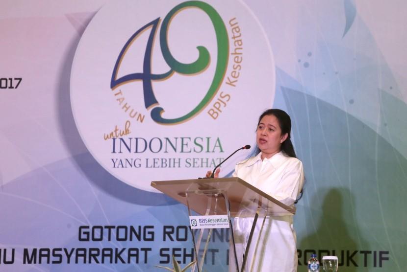 Sambutan Menko PMK, Puan Maharani pada acara Sarasehan Nasional dan HUT BPJS Kesehatan ke-49 di Kantor BPJS Kesehatan, Jakarta.