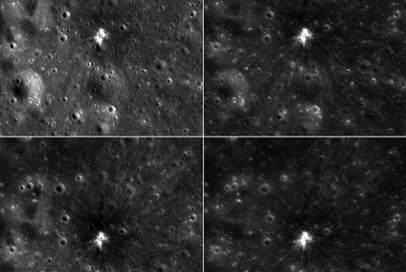 sebuah kawah baru terbentuk di bulan pascaledakan.