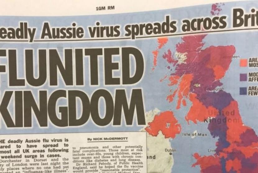 Sebuah tabloid di Inggris memperingatkan flu asal Australia yang mematikan.