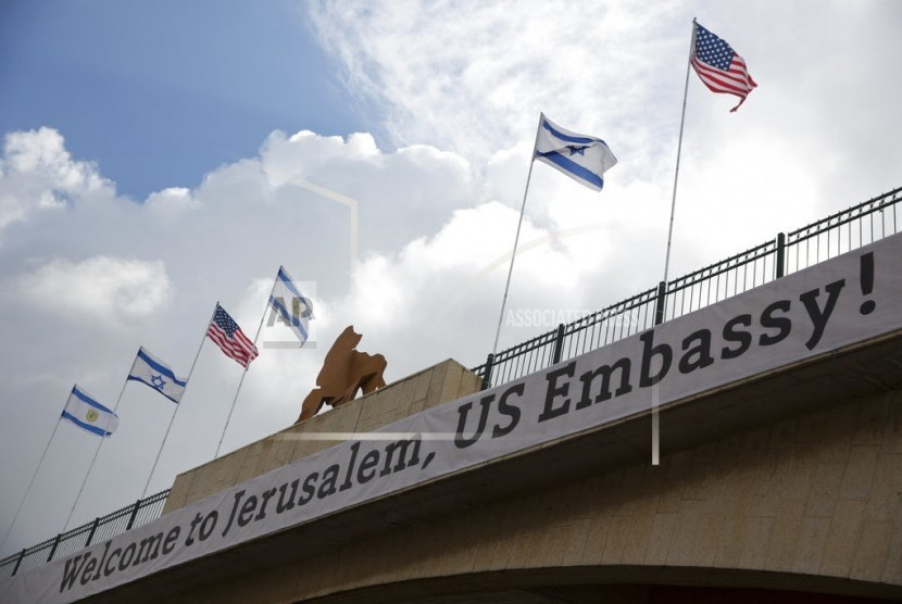 A signage on the bridge that leads to the US Embassy complex ahead of its official opening in Jerusalem on Sunday (May 13).
