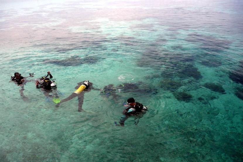 Sejumlah wisatawan menyelam di sekitar perairan Pulau Derawan, Berau, Kalimantan Timur beberapa waktu lalu.  (Nur Aini/Republika)