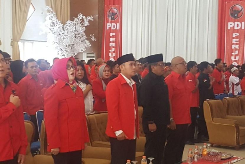 Sekjen PDI Perjuangan Hasto Kristiyanto saat memberi arahan pada acara