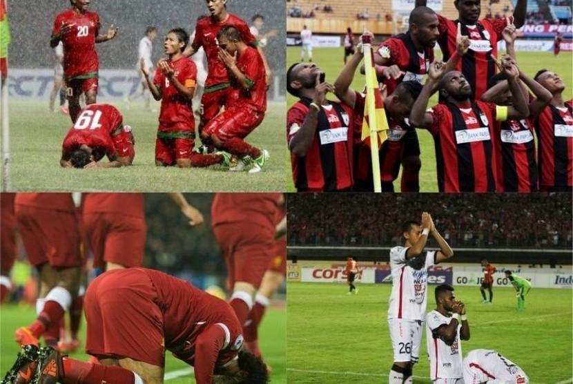 Selebrasi bersyukur kepada Tuhan di lapangan sepak bola.