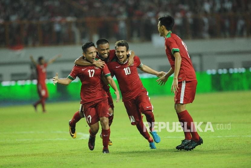 Selebrasi pemain timnas Indonesia U-19 atas gol Syahrian abimanyu.