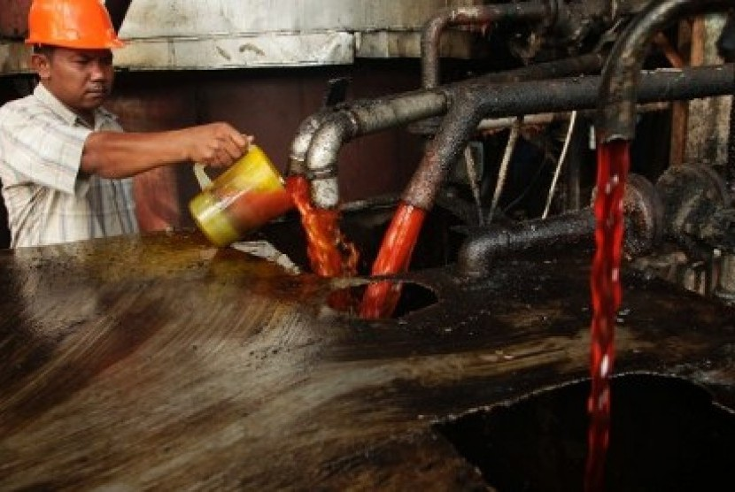 A worker checks the quality of crude palm oil (CPO) in palm oil manufacturing plants.
