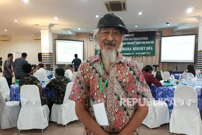 Seorang penghayat kepercayaan Kapribaden di Bali, Sarjono Danu Wobowo (80 tahun).