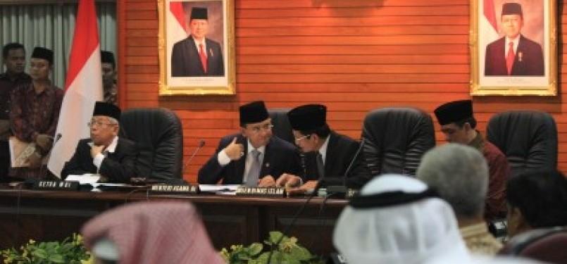 Sidang Isbat Penentuan 1 Syawal 1432 H di Kantor Kementerian Agama RI, Jakarta, Senin (29/8).