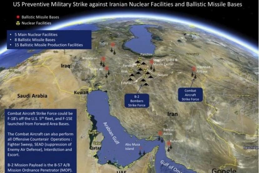 Skema serangan AS terhadap lima fasilitas nuklir Iran.