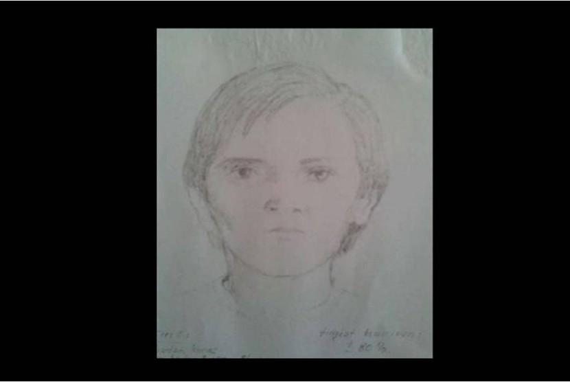 Sketsa 3: Berbadan kurus, tinggi sekitar 155-160 cm, mata cekung ke dalam, wajah tirus, rambut lurus agak menutupi telinga belah pinggir, mengenakan T-shirt orange, usia sekitar 20-24 tahun, warna kulit kuning langsat. Tingkat kemiripan 80%