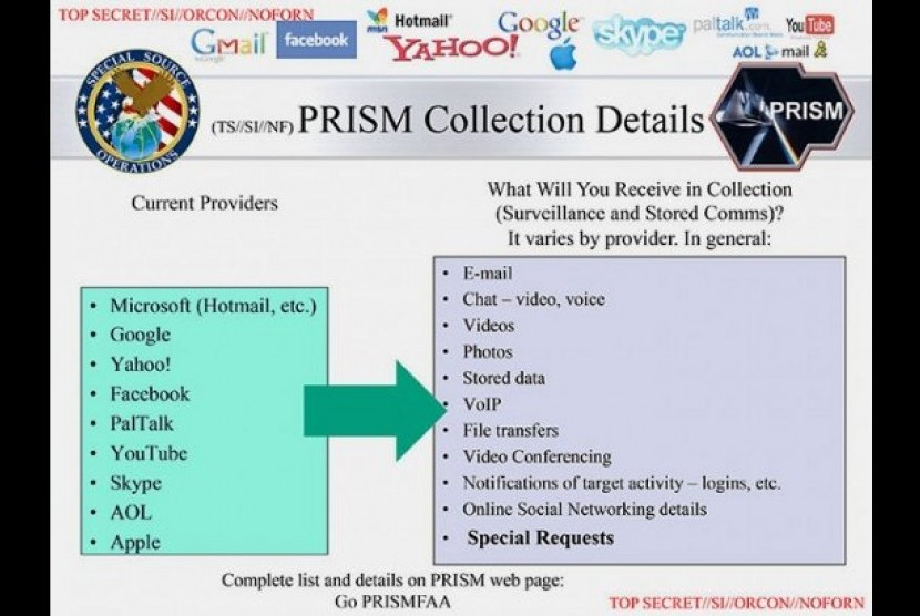 Slide pertama presentasi Power Point program 'PRISM' yang diserahkan Edward Snowdern
