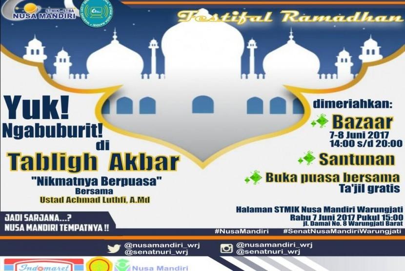 STMIK Nusa Mandiri menggelar Festival Ramadhan 1438 H.
