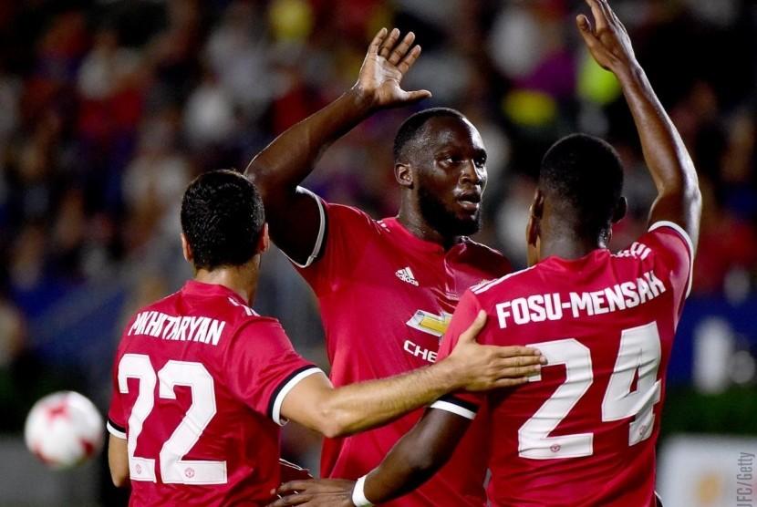 Striker Manchester United, Romelu Lukaku pada laga debutnya melawan LA Galaxy, di Los Angeles, Sabtu (15/7).