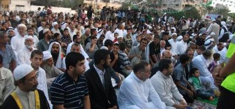 Suasan shalat Idul Fitri di Gaza