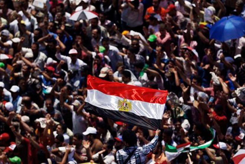 Suasana di Lapangan Bundaran Tahrir, Mesir, Ahad (25/6)