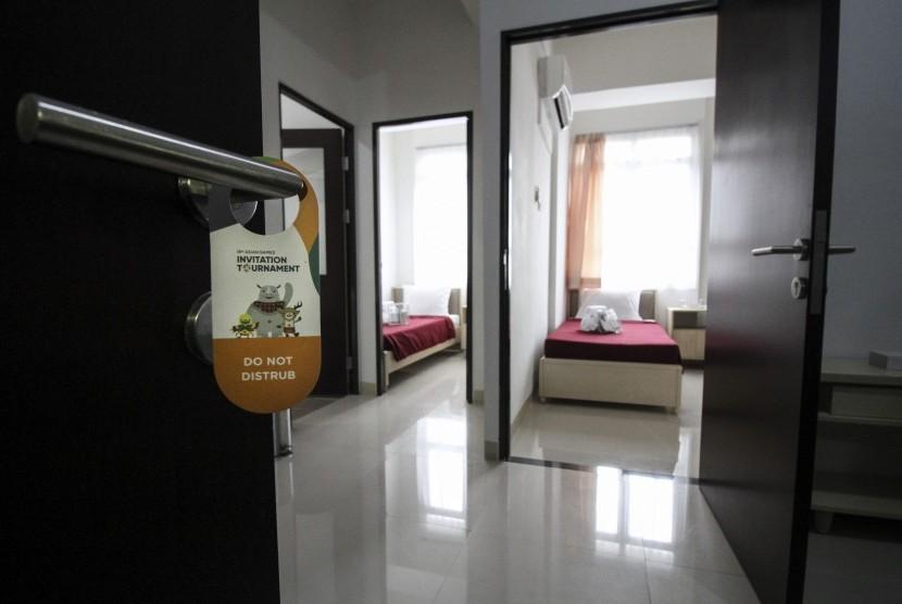 Rooms at Wisma Atlet Kemayoran, Jakarta.