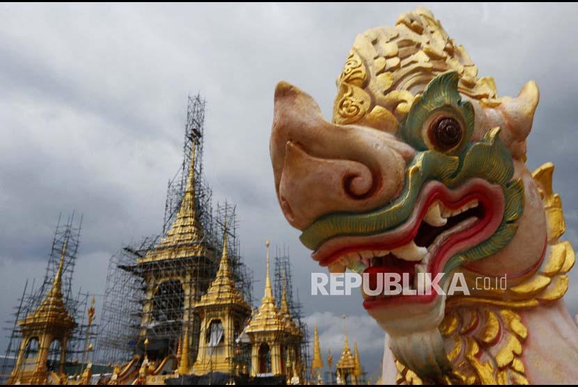 Suasana lokasi pemakaman kerajaan tempat mendiang Raja Bhumibol Adulyadej disemayamkan.