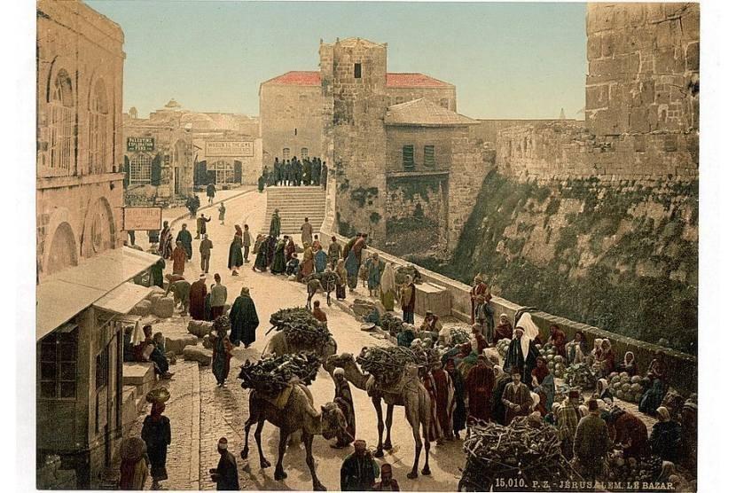 Suasana pasar di dekat Menara Daud, Yerusalem