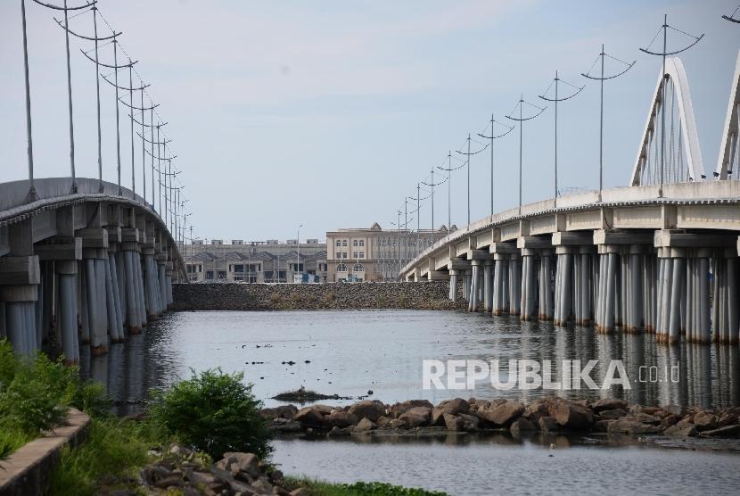 Suasana pulau C dan D Reklamasi di pantai Utara Jakarta, Rabu (11/5)