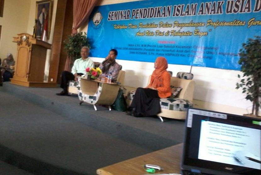 Suasana seminar PAUD yang diadakan oleh Fakultas Ilmu Tarbiyah dan Keguruan (FITK) Institut Agama Islam Sahid (INAIS) Bogor, Sabtu (19/8).