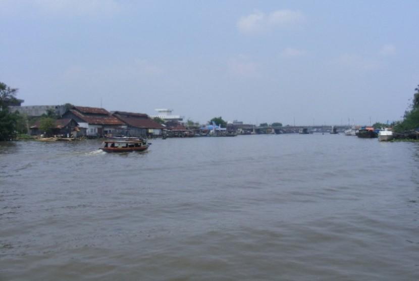 Sungai Martapura, di Kota Banjarmasin, Kalimantan Selatan.