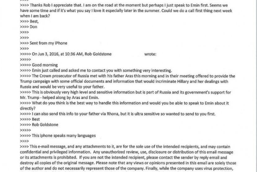 Surat elektronik yang menunjukkan percakapan Donald Trump Jr. Surel tersebut mengungkap pertemuan Trump Jr dan warga Rusia.