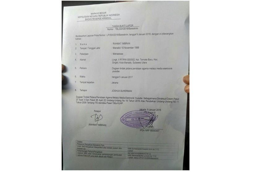 Surat pelaporan terhadap Joshua.