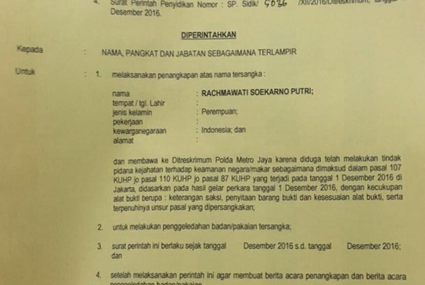 Arrest warrant letter of Rachmawati Soekarnoputri.