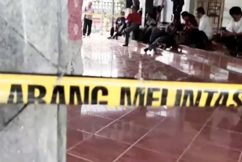 Safety police line tape at Santa Lidwina church, Sleman, Yogyakarta.