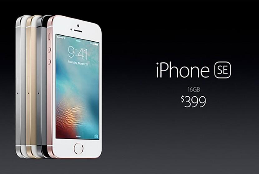 Tampilan produk smartphone terbaru Apple, iPhone SE.