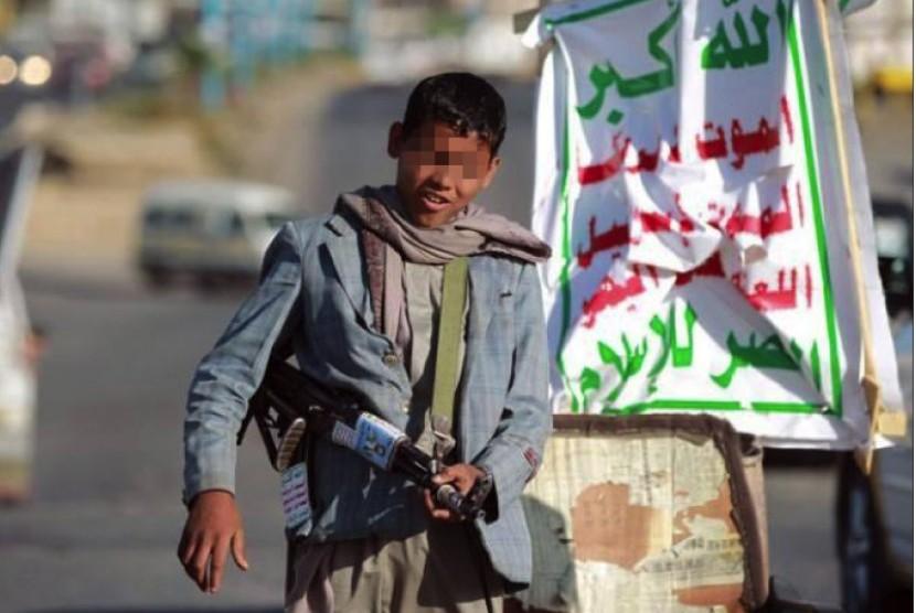 Tentara anak Houthi di Yaman.
