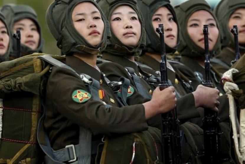 Tentara perempuan Korea Utara.