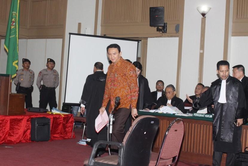Terdakwa kasus dugaan penistaan agama Basuki Tjahaja Purnama atau Ahok